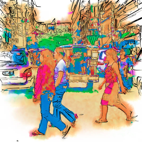 Drawing - Philippine Girls Crossing Street by Rolf Bertram