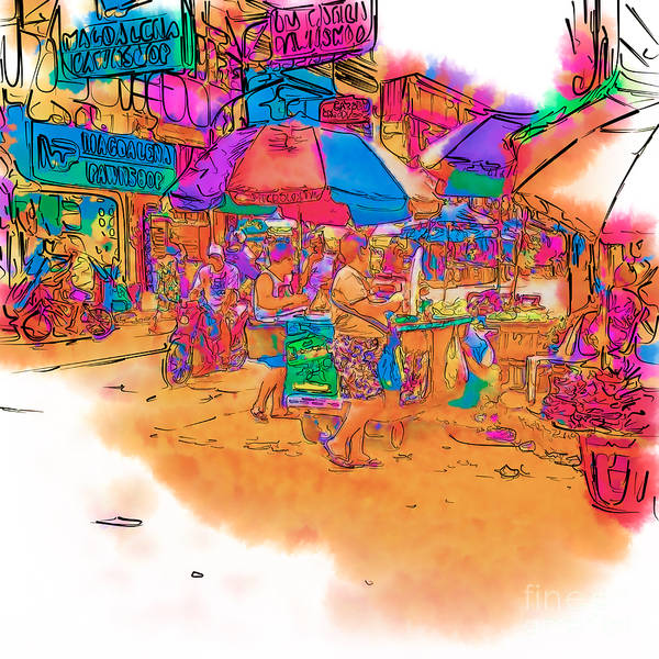 Drawing - Philippine Open Air Market by Rolf Bertram