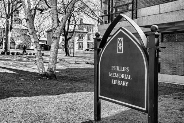 Photograph - Phillips Memorial Library Providence College, Monochrome by Nancy De Flon