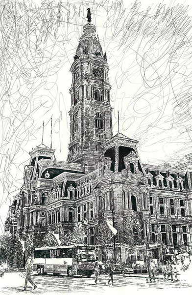 Pen Drawing - Philly City Hall by Michael Volpicelli