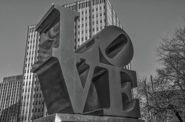 Wall Art - Photograph - Philly Esque  - Love Statue In Black And White by Bill Cannon