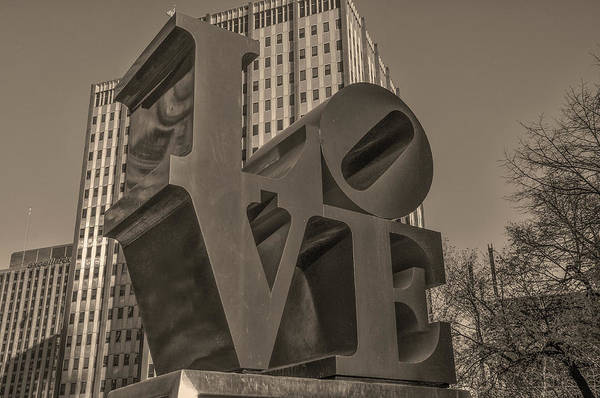 Wall Art - Photograph - Philly Esque  - Love Statue In Sepia by Bill Cannon