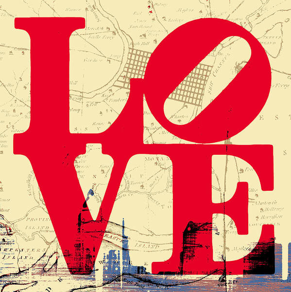 Brotherly Love Digital Art - Philly Love V3 by Brandi Fitzgerald