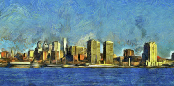 Mixed Media - Philly Skyline by Trish Tritz