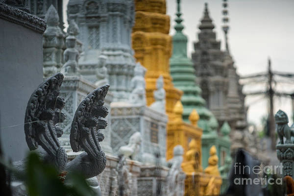 Angkor Wall Art - Photograph - Phnom Penh Temple Cemetary Details by Mike Reid