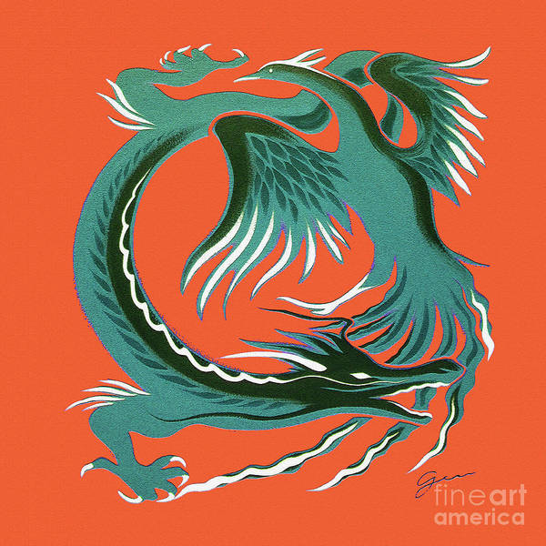 Lucky Charm Painting - Phoenix And Dragon by Gem S Visionary