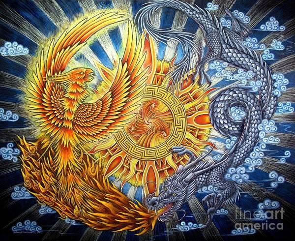 Wall Art - Pastel - Phoenix And Dragon by Rebecca Wang