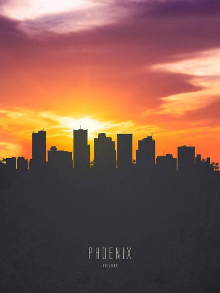 Phoenix Painting - Phoenix Arizona Sunset Skyline 01 by Aged Pixel