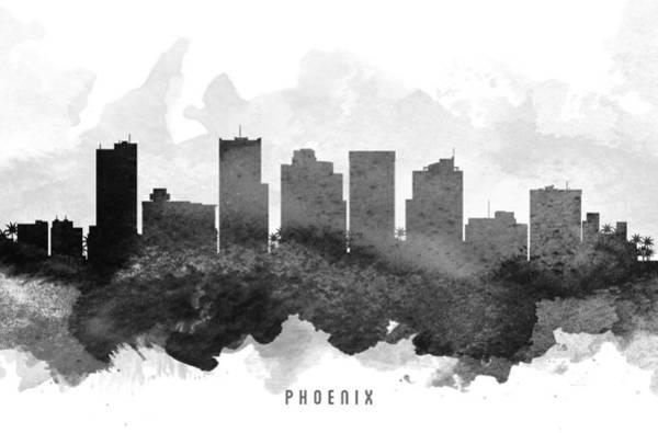 Phoenix Painting - Phoenix Cityscape 11 by Aged Pixel