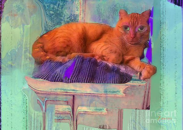 Organic Abstraction Mixed Media - Phoenix Rescue Cat Love by Zsanan Studio