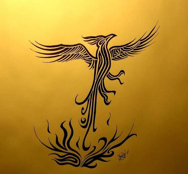 Drawing - Phoenix by Michelle Dallocchio
