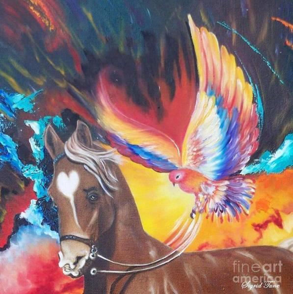 Painting - Blaa Kattproduksjoner         Phoenix Rider by Sigrid Tune
