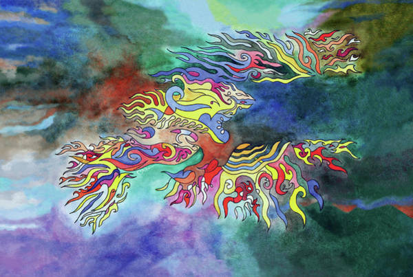 Painting - Phoenix Rising Watercolor by Miko At The Love Art Shop