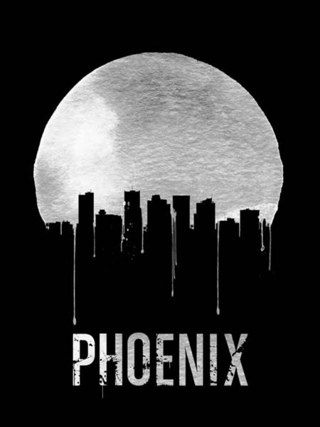 Wall Art - Digital Art - Phoenix Skyline Black by Naxart Studio