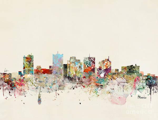 Phoenix Arizona Wall Art - Painting - Phoenix Skyline by Bri Buckley