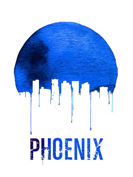 Wall Art - Painting - Phoenix Skyline Blue by Naxart Studio