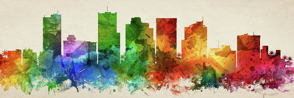 Wall Art - Digital Art - Phoenix Skyline Panorama Usazph-pa03 by Aged Pixel