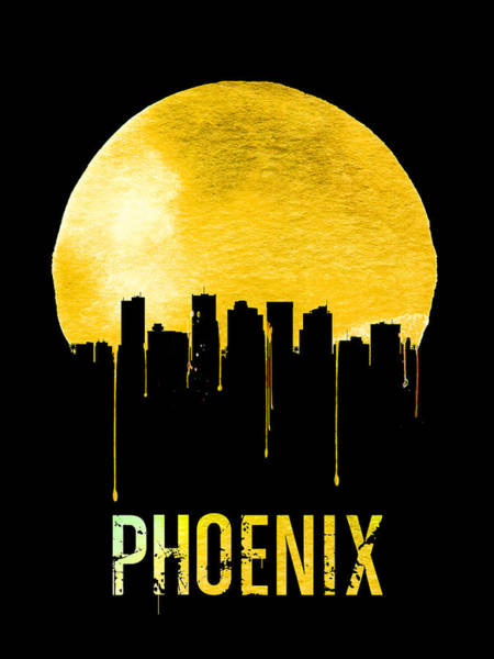 Wall Art - Digital Art - Phoenix Skyline Yellow by Naxart Studio