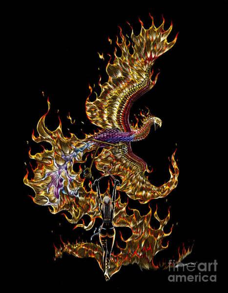 Fire Drawing - Phoenix by Stanley Morrison