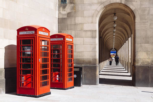 Greater Manchester Wall Art - Photograph - Phone Boxes At Manchester Town Hall by Laura Tucker