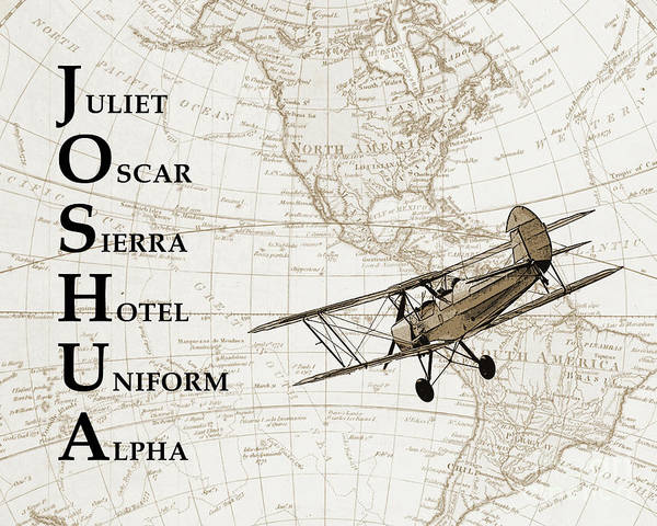 Pilot Photograph - Phonetic Alphabet Custom Name by Delphimages Photo Creations