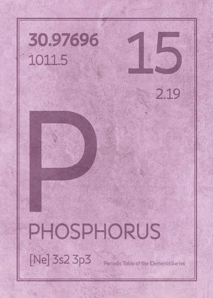 Elements Mixed Media - Phosphorus Element Symbol Periodic Table Series 015 by Design Turnpike