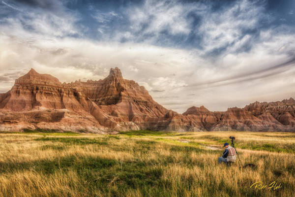 Photograph - Photographer Waiting For The Badlands Light by Rikk Flohr