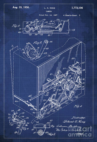 Invention Painting - Photographic Camera Patent Year 1927 by Drawspots Illustrations