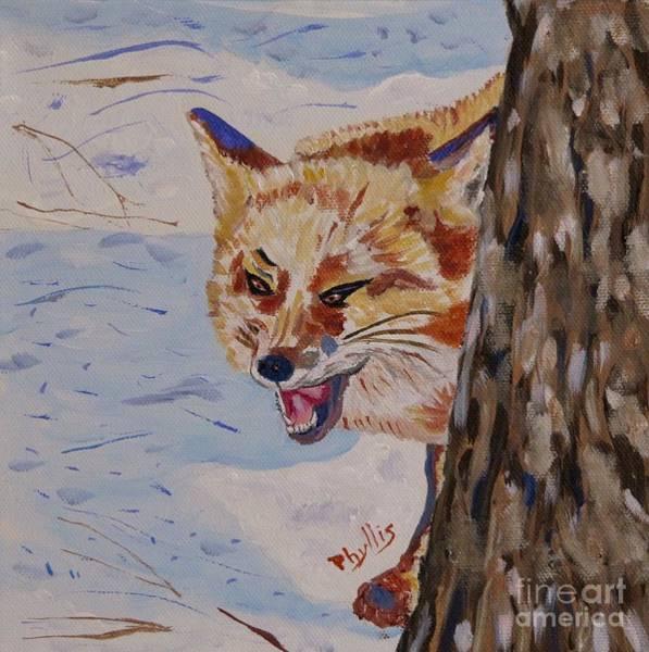 Pine Needles Painting - Phyllis' Laughing Fox by Phyllis Kaltenbach