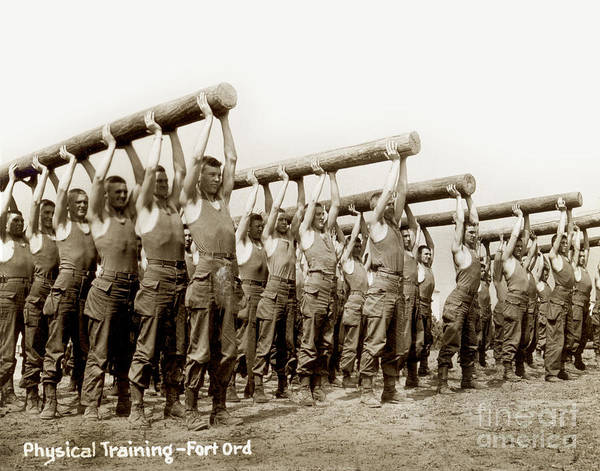 Photograph - Physical Training Pt Fort Ord Circa 1950 by California Views Archives Mr Pat Hathaway Archives