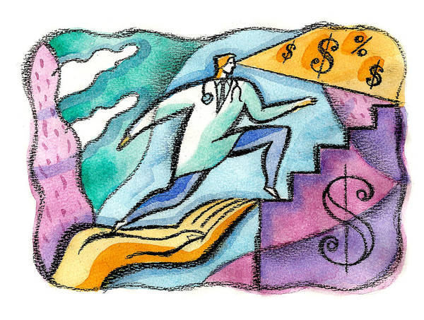 Exertion Wall Art - Painting - Physician And Money by Leon Zernitsky