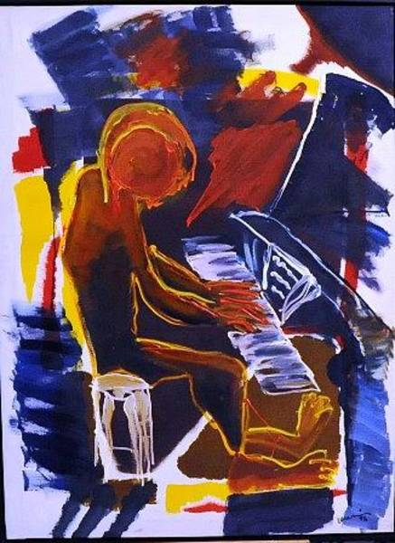 Wall Art - Painting - Pianist by Mounir Lakkis