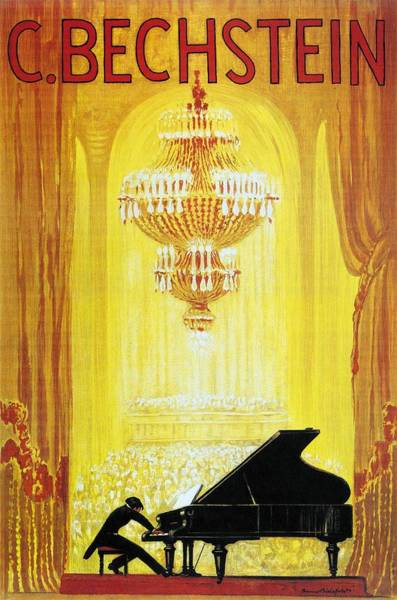 Piano Player Painting - Pianist Playing To A Packed Theatre - C. Bechstein - German Piano Manufacturer - Vintage Poster by Studio Grafiikka