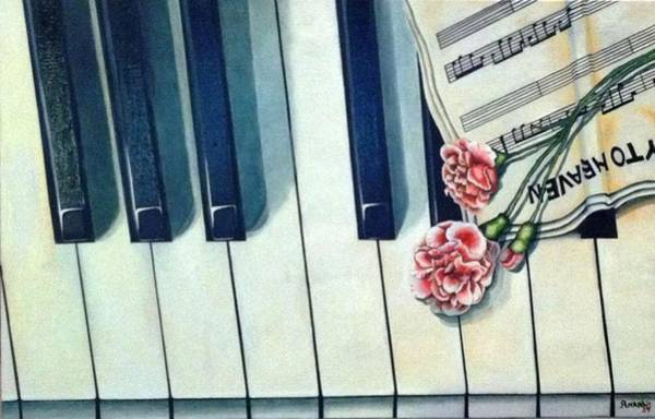 Wall Art - Painting - Piano And The Stairway by Anaalu