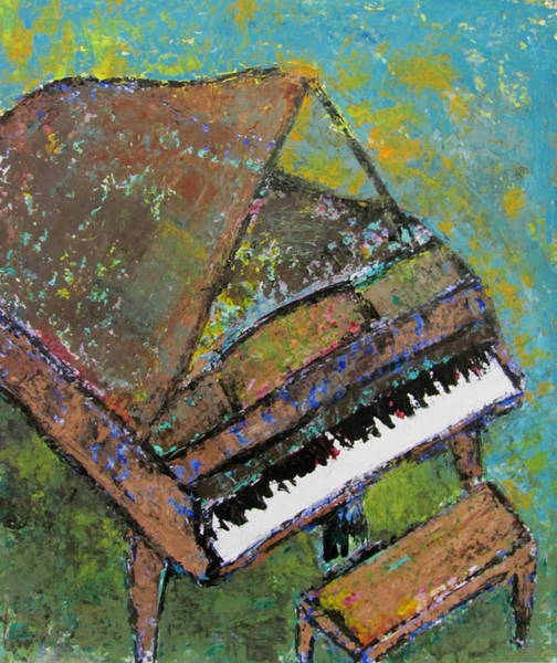 Painting - Piano Aqua Wall by Anita Burgermeister