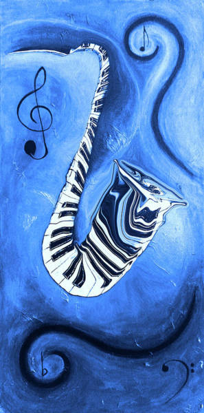 Hallway Mixed Media - Piano Keys In A Saxophone Blue - Music In Motion by Wayne Cantrell