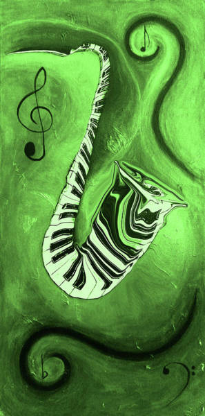 Hallway Mixed Media - Piano Keys In A  Saxophone Green Music In Motion by Wayne Cantrell