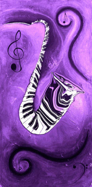 Hallway Mixed Media - Piano Keys In A Saxophone Purple - Music In Motion by Wayne Cantrell