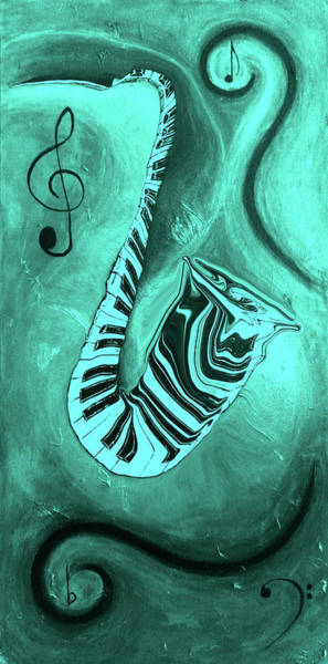 Hallway Mixed Media - Piano Keys In A  Saxophone Teal Music In Motion by Wayne Cantrell
