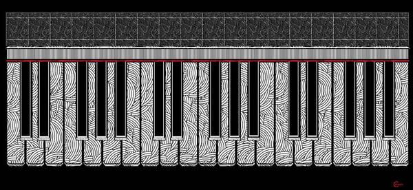 Digital Art - Piano Keys Rhythmic Deco  by Cecely Bloom
