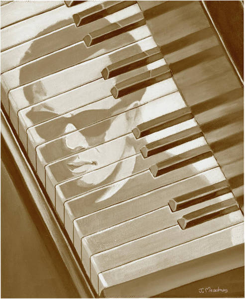Piano Bar Painting - Piano Man In Sepia by J L Meadows