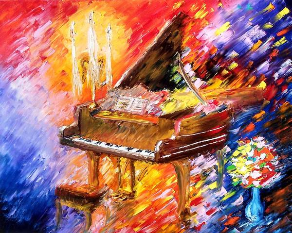Piano Bar Painting - Piano by Paul Anderson