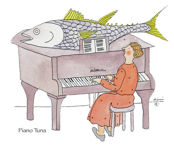 Wall Art - Drawing - Piano Tuna by Simi Berman