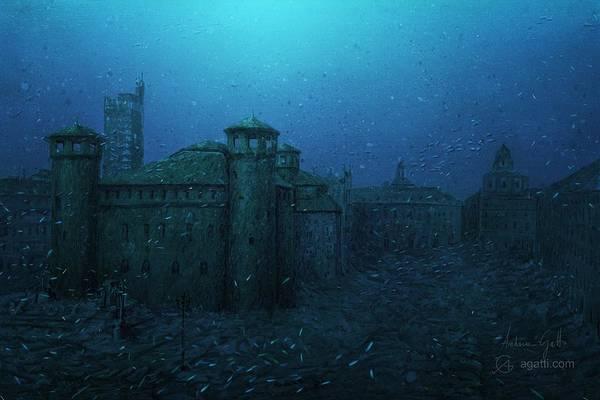 Ocean Scape Digital Art - Piazza Castello by Andrea Gatti