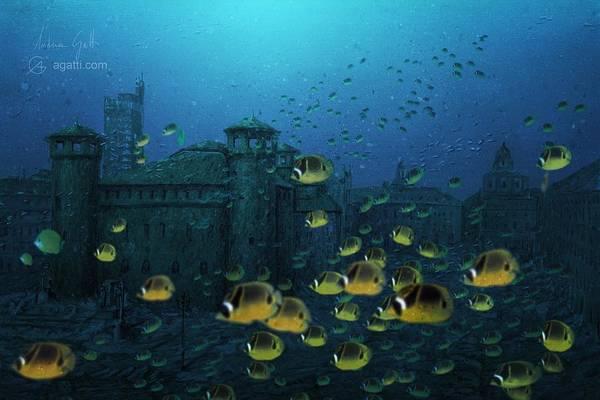 Ocean Scape Digital Art - Piazza Castello Con Psesci Gialli by Andrea Gatti