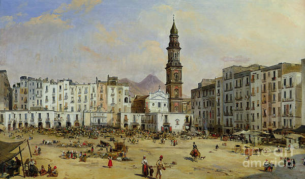 Square Tower Painting - Piazza Mazaniello In Naples by Jean Auguste Bard