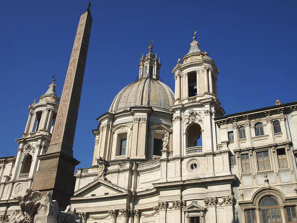 Egypt Photograph - Piazza Navona. Navona Place. Church St. Angnese In Agona And Egyptian Obelisk. Rome by Bernard Jaubert