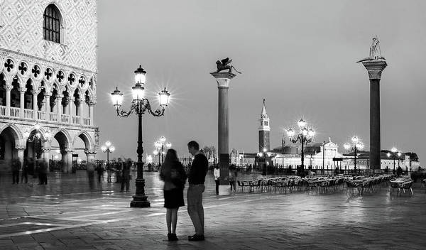 Photograph - Piazza San Marco At Night - Venice by Barry O Carroll