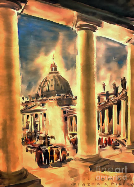 Painting -  Piazza San Pietro In Roma Italy by Odon Czintos
