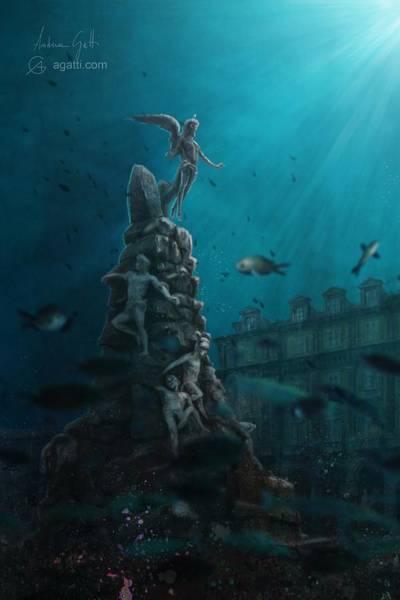Ocean Scape Digital Art - Piazza Statuto by Andrea Gatti
